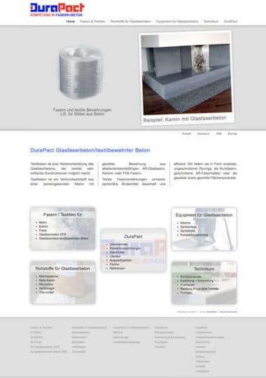 Webdesign Beispiel für Industrie - DuraPact Kompetenz in Fasern + Beton