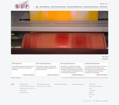 Webdesign Beispiel für Industrie - SDF, Schnitt Druck Falzmaschinen