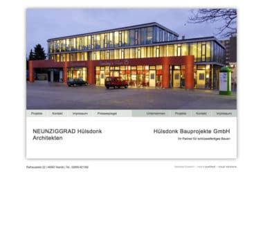 Webdesign Beispiel für Architektur - Hülsdonk Bauprojekte GmbH