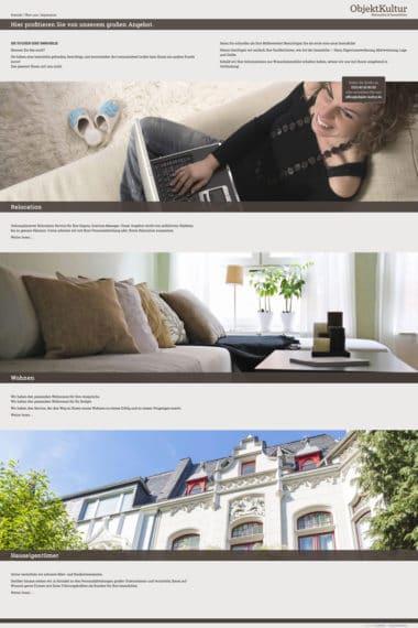 Webdesign Beispiel für Immobilien - ObjektKultur