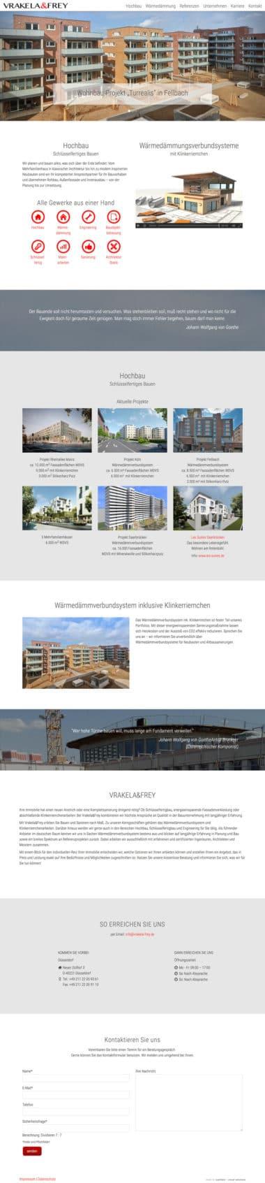 Webdesign Architektur Immobilien - Vrakela & Frey Bauunternehmen