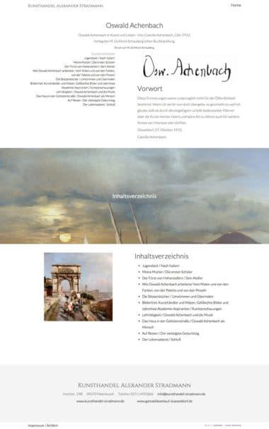 Webdesign für die Kunst Kunsthandel Alexander Stradmann, Oswald Achenbach