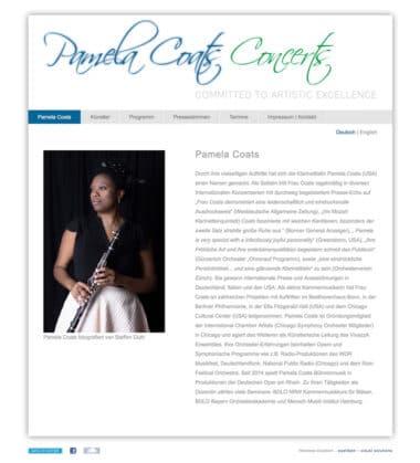 Webdesign Beispiel für Künstlerin - Pamela Coats