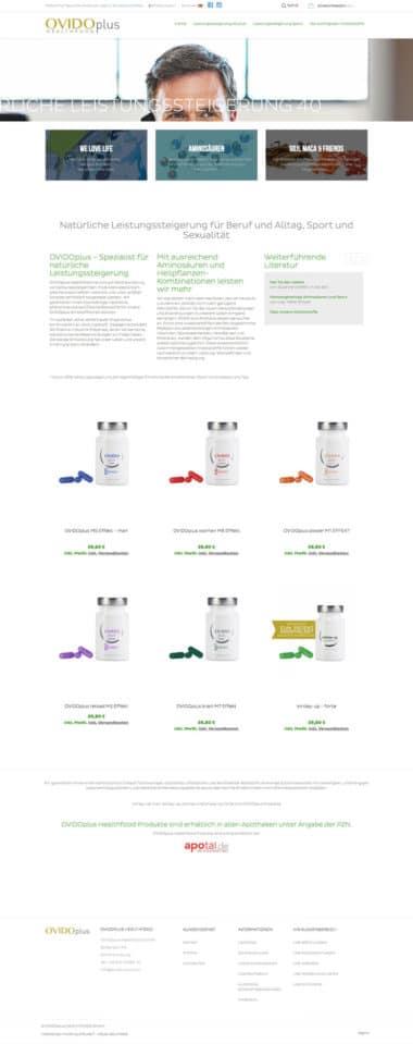 Webdesign Beispiel für eCommerce - OVIDO Shop
