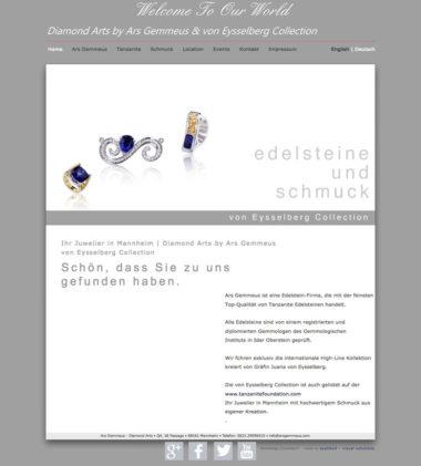 Webdesign Beispiel für Fashion - Ars Gemmeus, Edelsteine und Schmuck