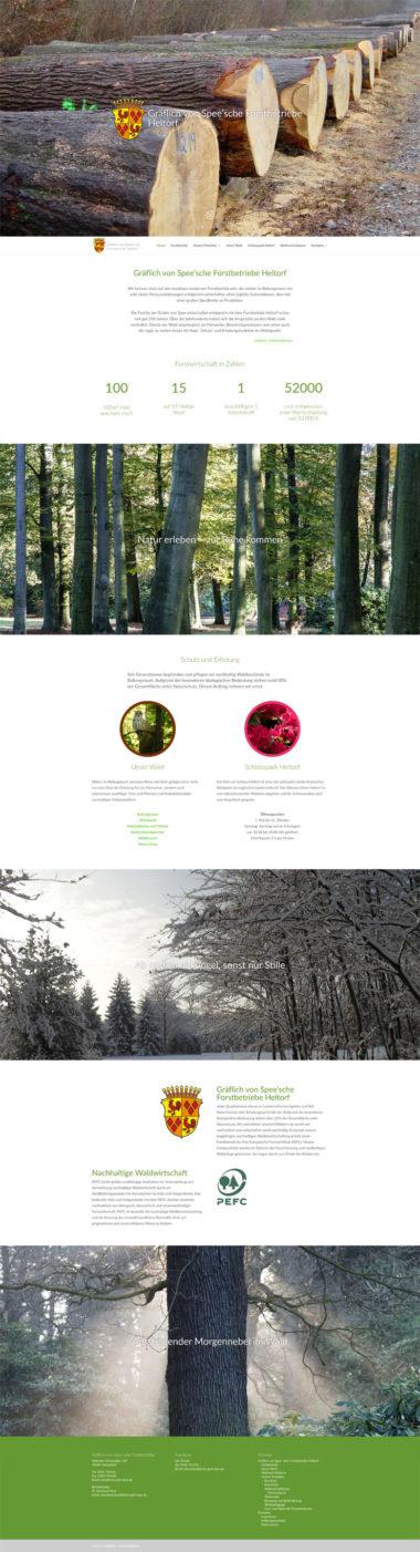 Webdesign Beispiel für Dienstleistungen - Gräflich von Spee'sche Forstbetriebe Heltorf