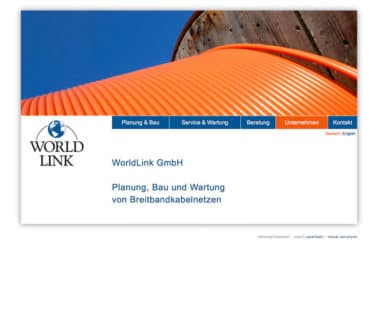 Webdesign Beispiel für Industrie - World Link Gmbh, Bretibahndkabelnetze