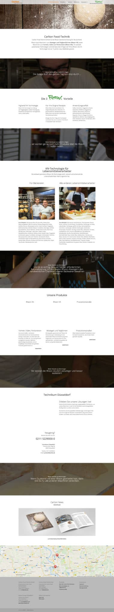 Carlton Food Technik - Beispiel Webdesign für Handel
