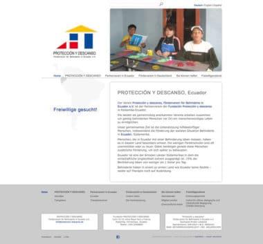 Webdesign für Service - Proteccion y descanso, Ecuador
