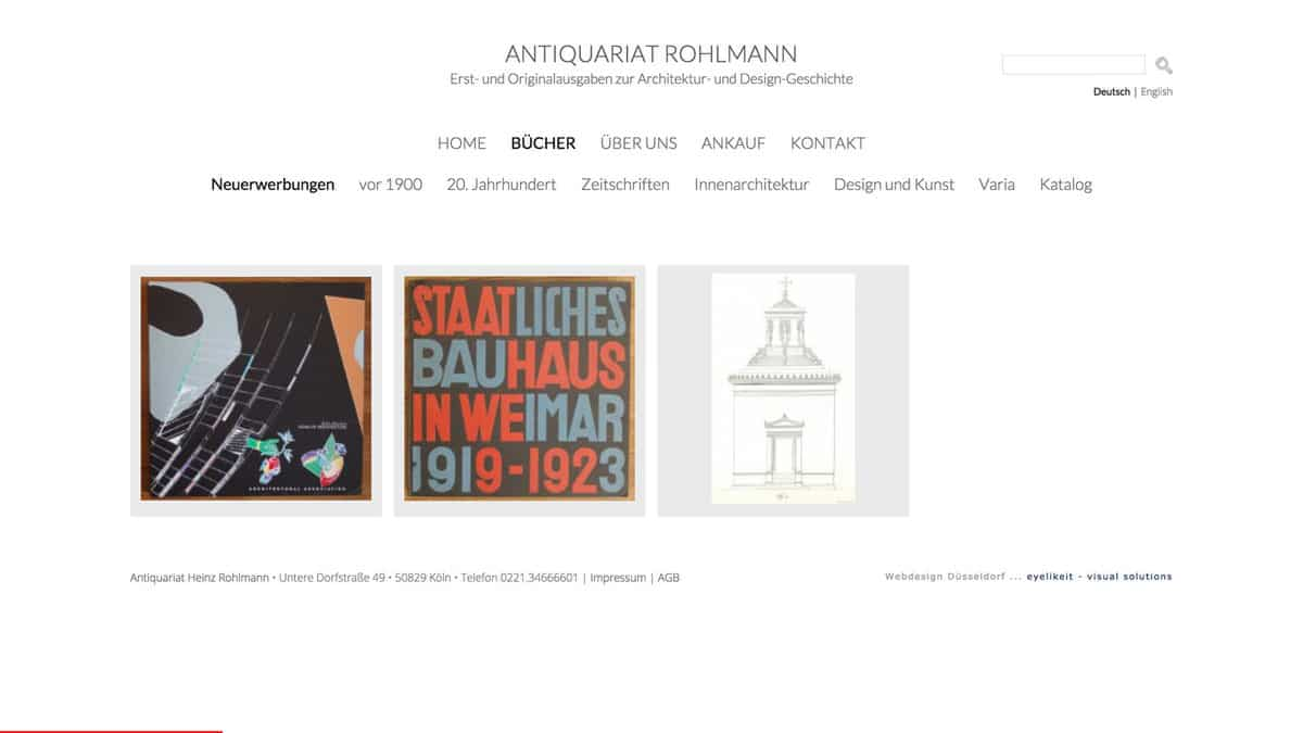 Webdesign für Antiquariat Neuerwerbungen, Antiquariat Rohlmann