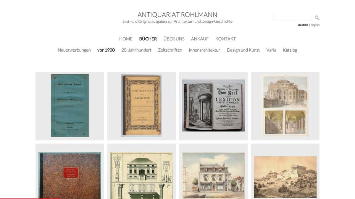 Webdesign für Antiquariat von Erst- und Originalausgaben zur Architektur- und Design-Geschichte, Antiquariat Rohlmann