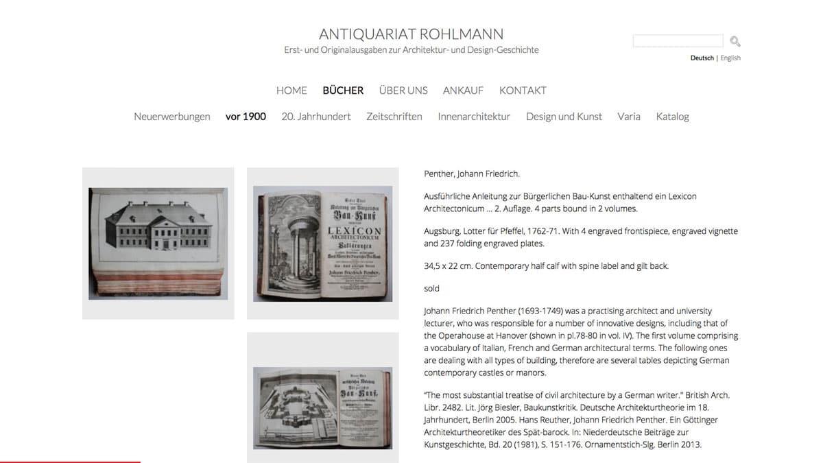 Webdesign für Antiquariat - Detailseite Bücher vor 1900