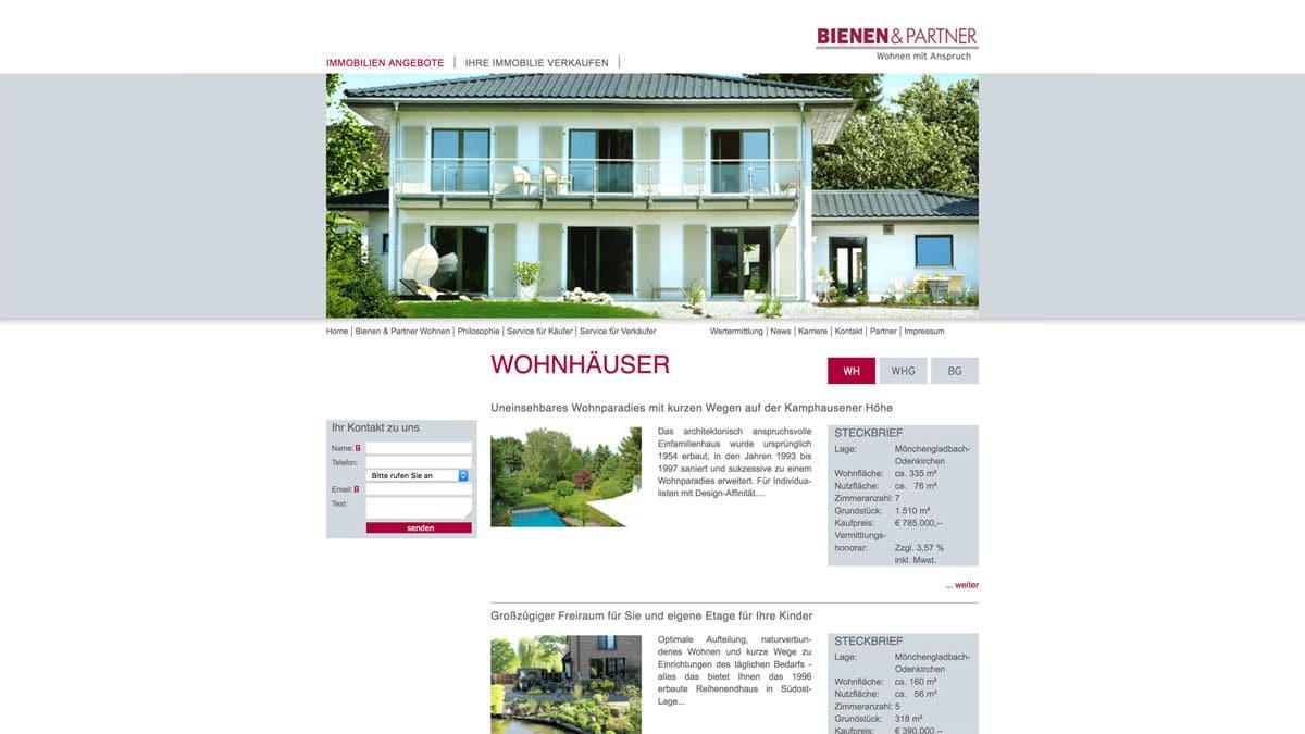Webdesign für Immobilienangeobte - Bienen & Partner, Wohnhäuser