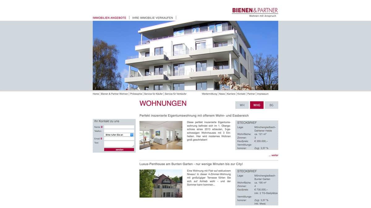 Webdesign für Immobilienangeobte - Bienen & Partner, Wohnungen