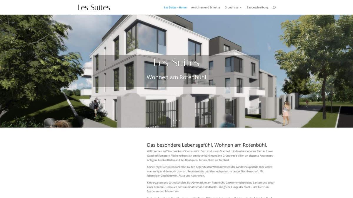 Webdesign für Projektentwicklung - Les Suites, präsentiert von Vrakela & Frey