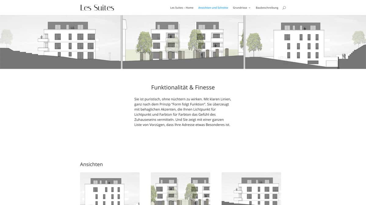 Webdesign für Projektentwicklung - Les Suites - Übersicht