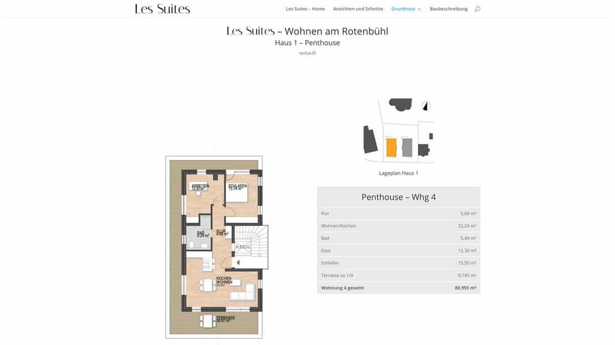 Webdesign für Projektentwicklung - Les Suites - Penthouse