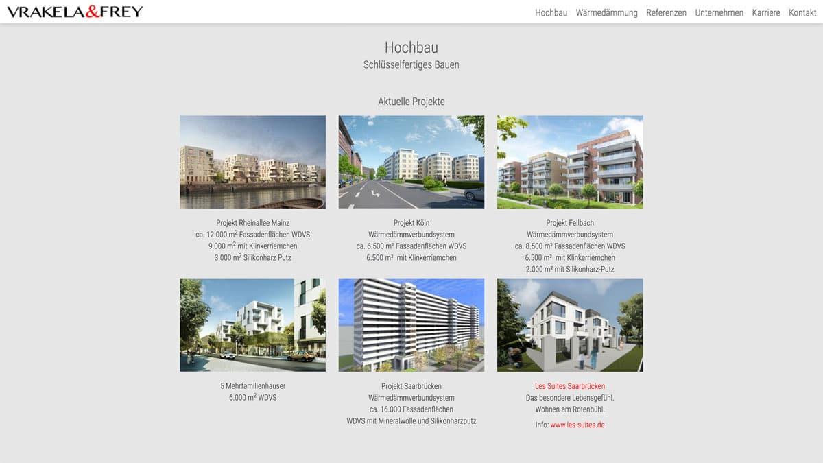 Webdesign für Bauunternehmen - Vrakela & Frey, Aktuelle Projekte