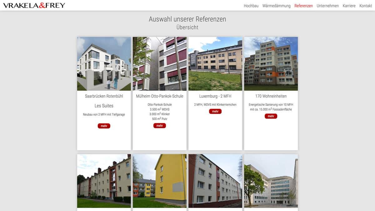 Webdesign für Bauunternehmen - Vrakela & Frey - Referenzen