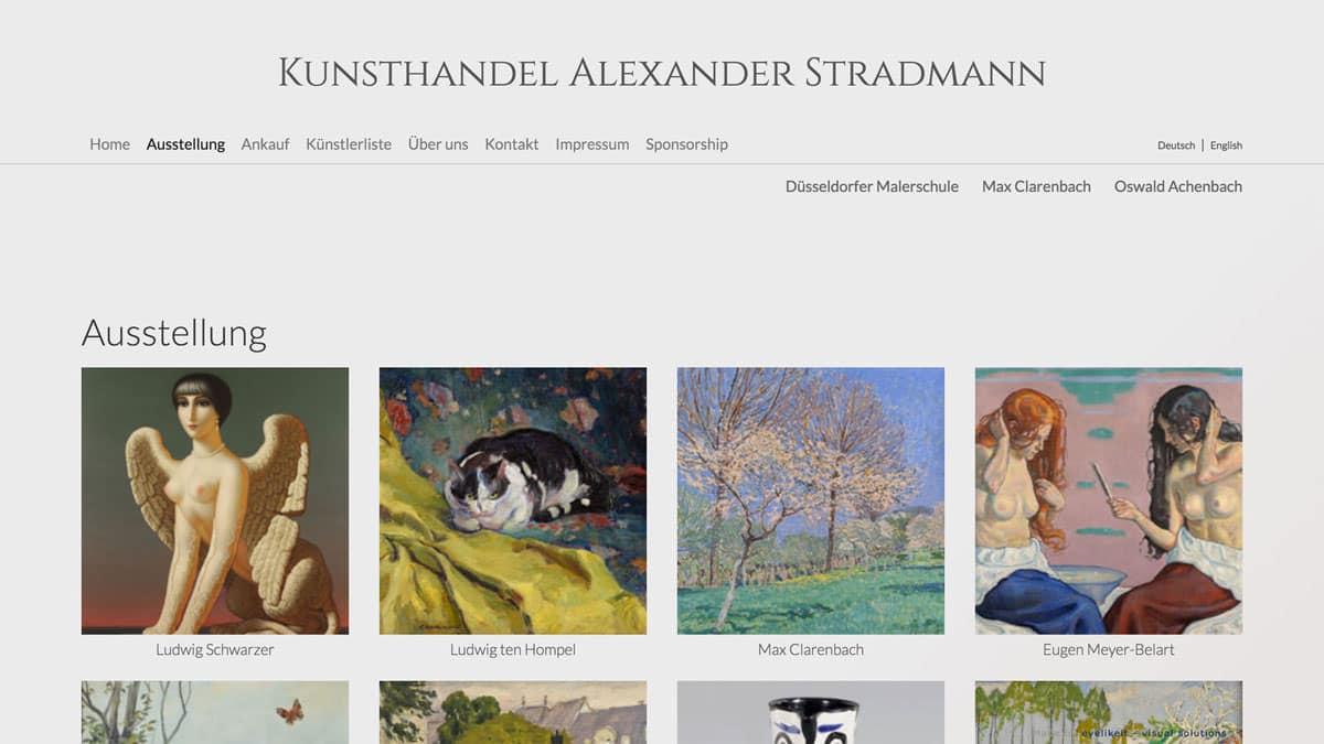Webdesign für Kunsthändler Alexander Stradmann, Übersicht der Kunstwerke
