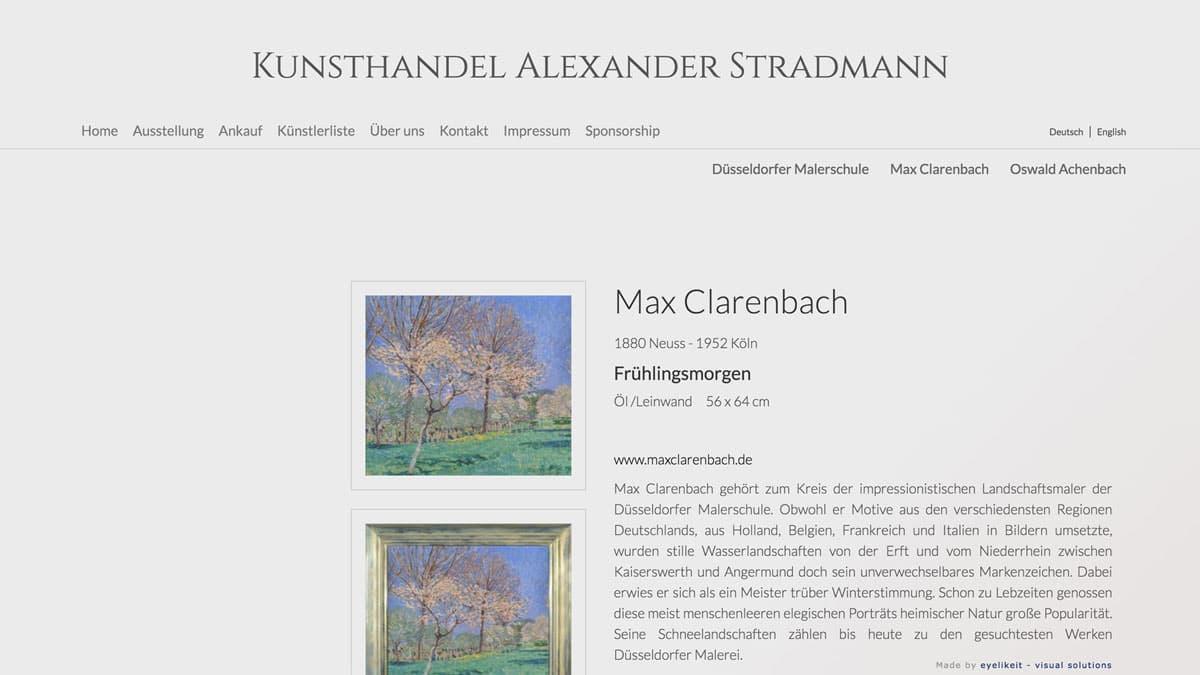 Webdesign für Kunsthändler Alexander Stradmann - Detailseite eines Gemäldes von Max Clarenbach