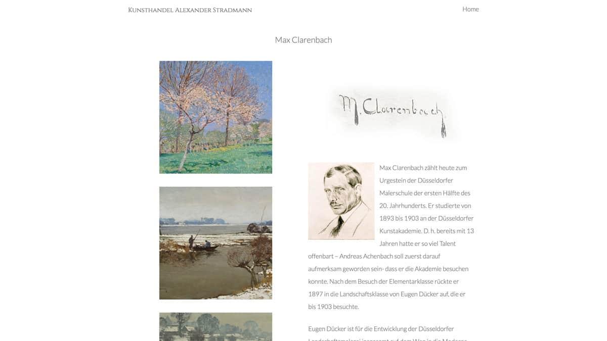 Webdesign für Kunst - Informationen zu Max Clarenbachen von Kunsthandel Alexander Stradmann