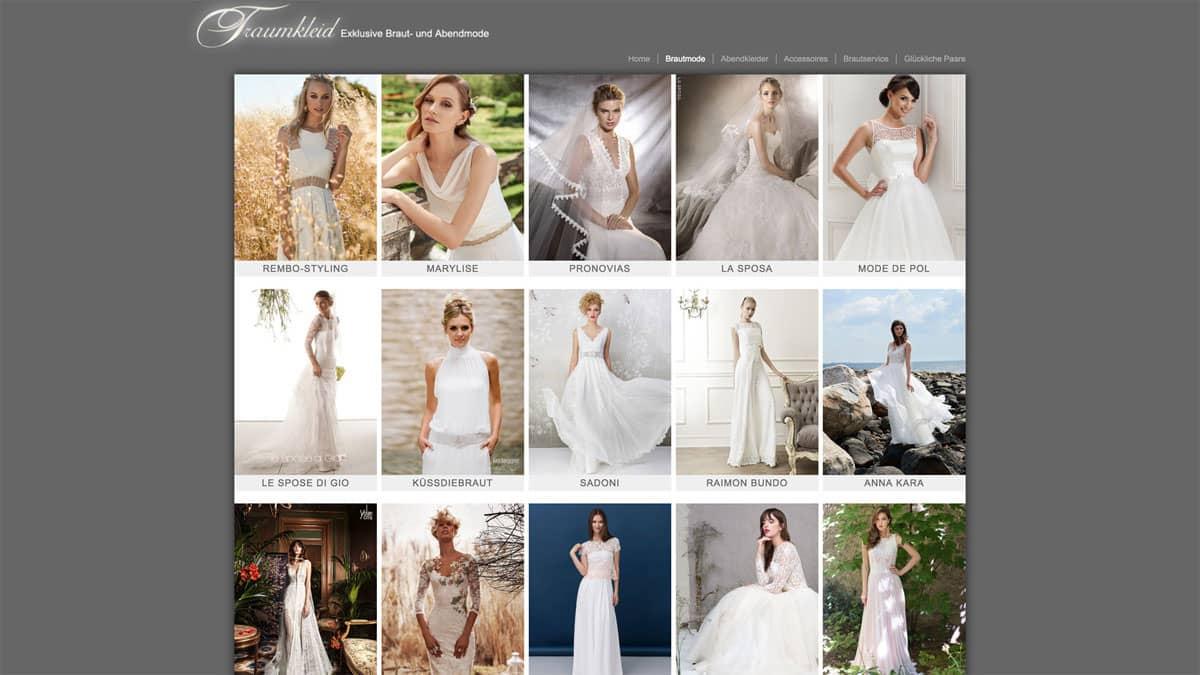 Webdesign Beispiel für Fashion - Traumkleid, Übersicht der Brautkleider Label