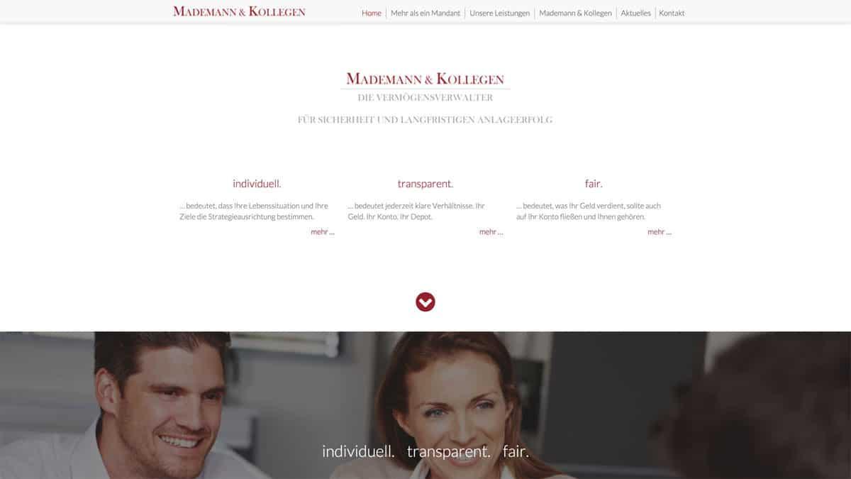 Webdesign Vermögensverwalter - Mademann & Kollegen