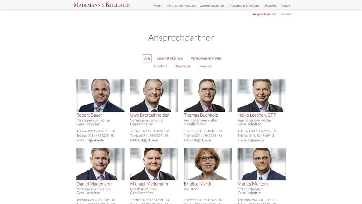 Webdesign Vermögensverwalter - Mademann & Kollegen, Ansprechpartner