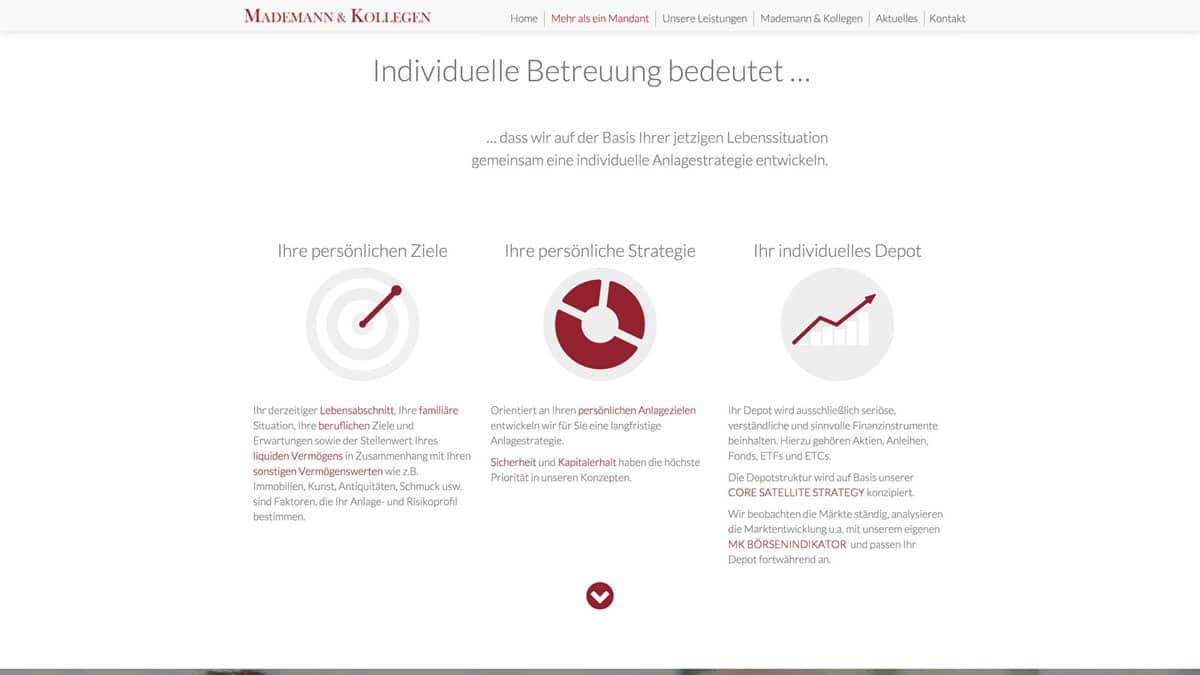Webdesign Vermögensverwalter - Mademann & Kollegen, Individuelle Betreuung