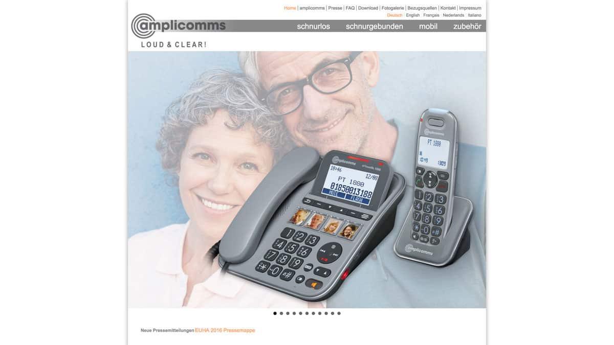 Webdesign für Telefone für hör- und sehbehinderte Menschen - amplicomms