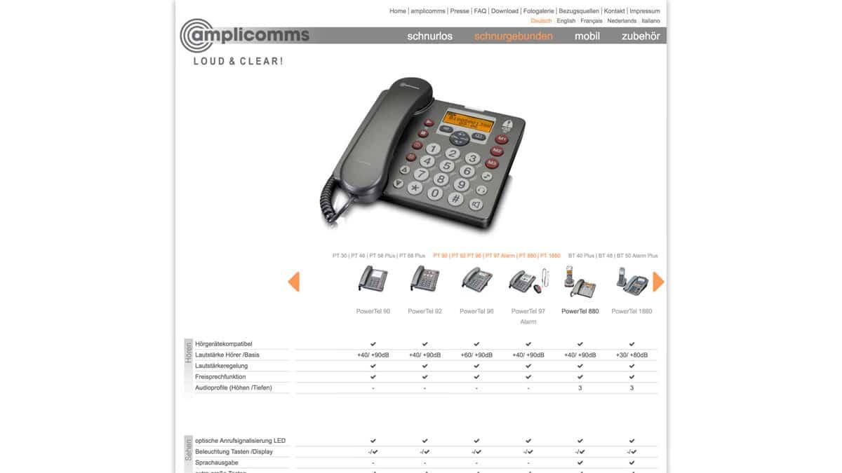 Webdesign für Telefone für hör- und sehbehinderte Menschen - amplicomms schnurgebundene Telefone
