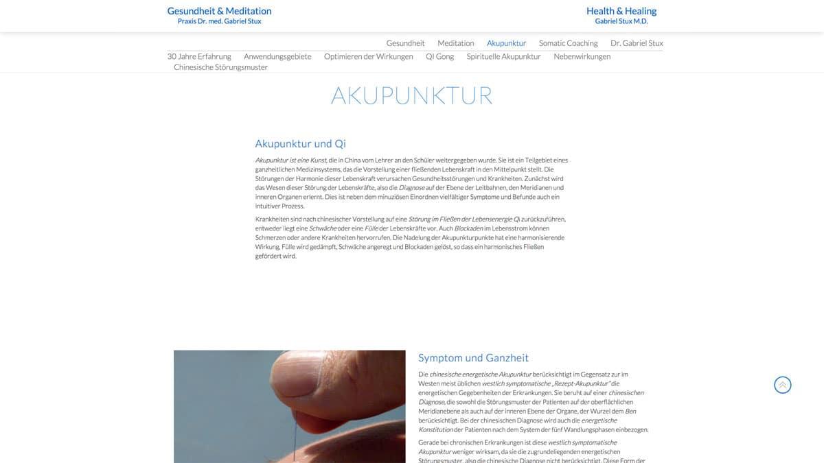 Webdesgin für Akupunktur - Gabriel Stux - Akupunktur und Qi