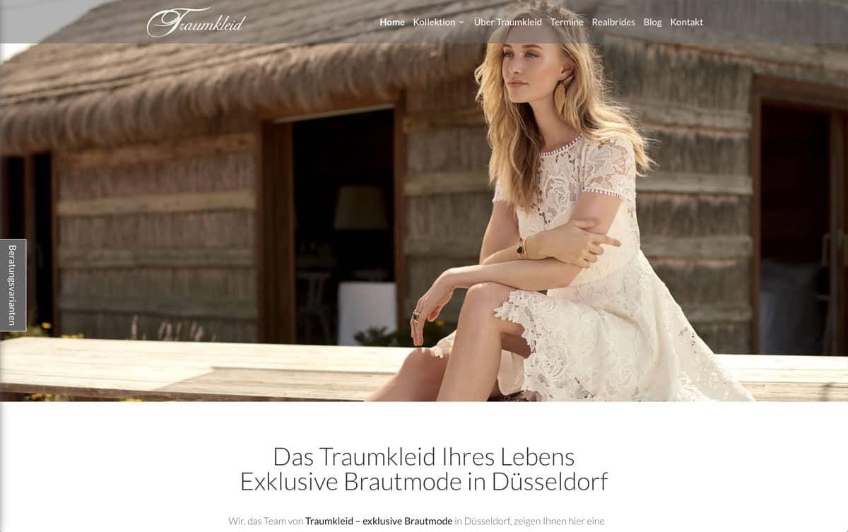 Webdesign Beispiel für Fashion - Traumkleid, exklusive Braut- und Abendmode