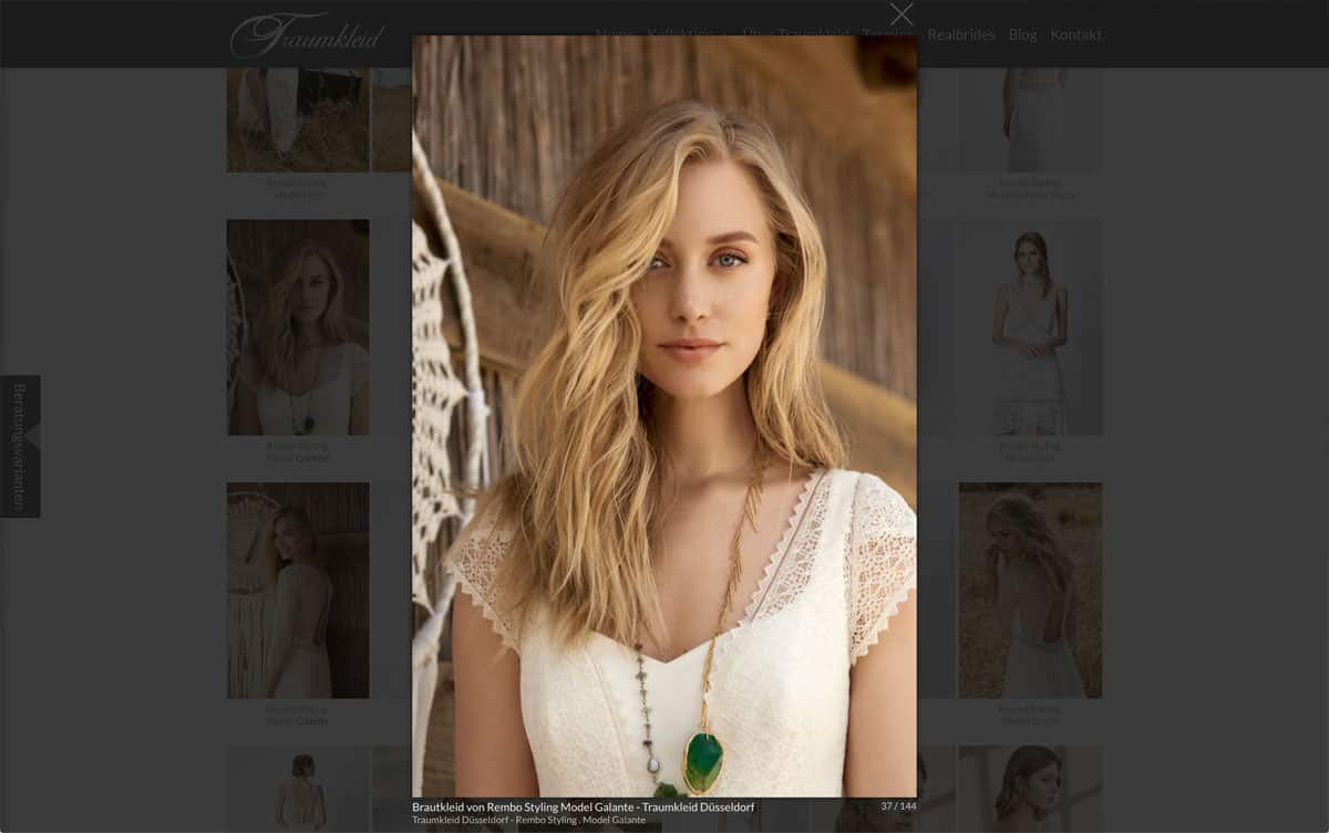 Webdesign Beispiel für Fashion - Traumkleid - Bildergalerie