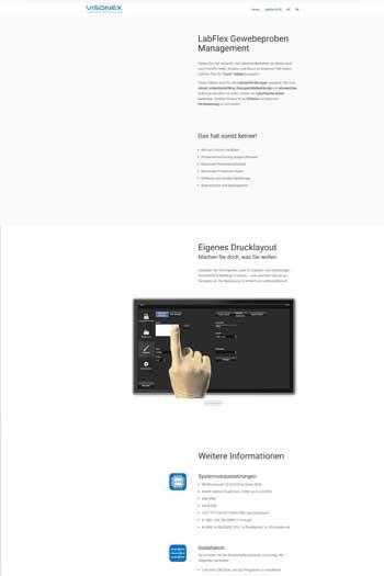 Webdesign für IT & Security - LabFlex by Vsionex