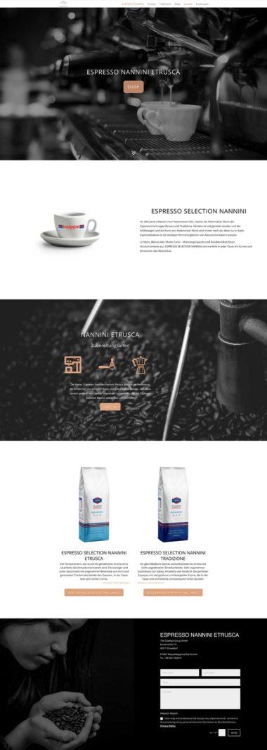Webdesign Beispiel für eCommerce - Espresso Nannini Etrusca