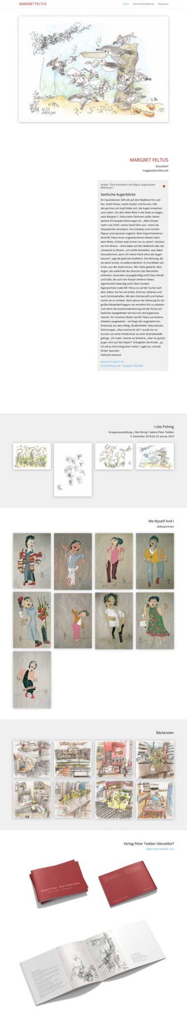 Webdesign Beispiel: Margret Feltus - Eine Künstlerin mit filigran expressiven Bildnissen